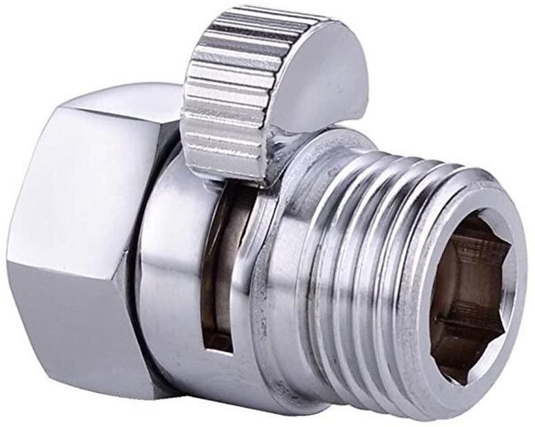 KHRODIS Shower Head Flow Control Valves Shower Shut-Off Valve Solid Brass Flow Contral and Shut OFF Valve for Shower Head Hand Shower Bidet Sprayer Chrome Finish G 1/2, Polished Chrome