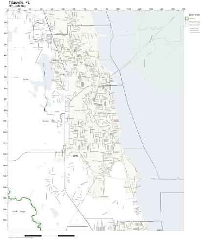 Working Maps Zip Code Wall Map of Titusville, FL Zip Code Map Laminated