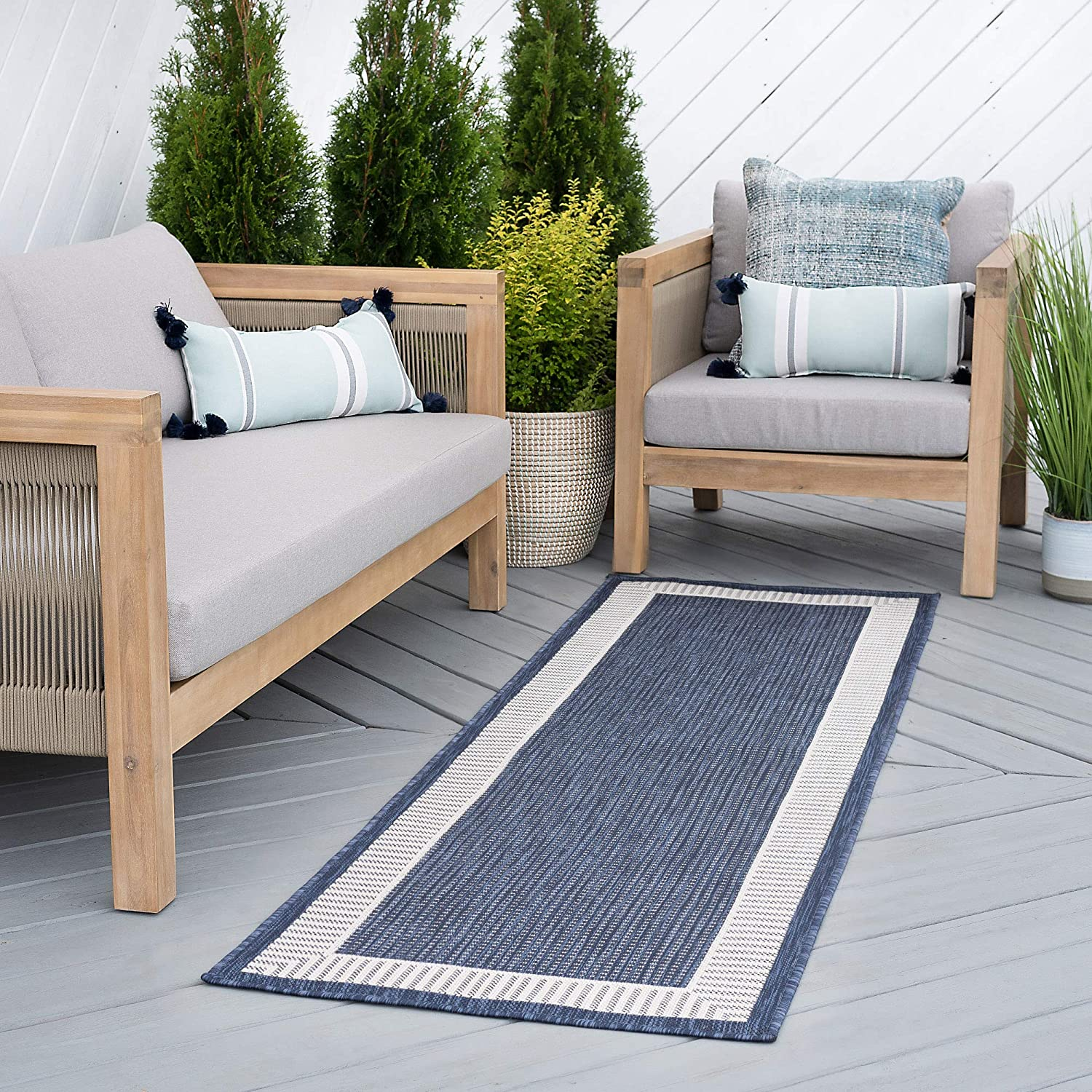 Elgin Navy Outdoor 2x8 Runner Area Rug for Hallway, Walkway, Entryway, or Foyer - Transitional, Striped Border