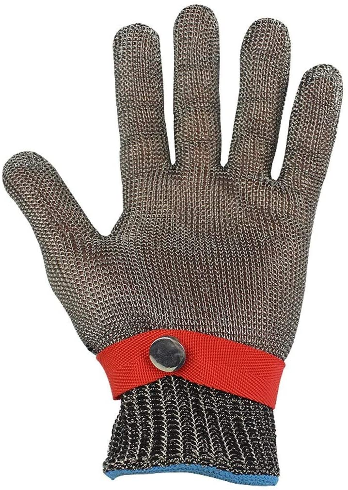 Safety Work Gloves 316 Stainless Steel Steel Wire Anti-cut Sleeves Fine Operating Stab-proof Metal Iron Gloves (single Gloves) (Size : XXL)