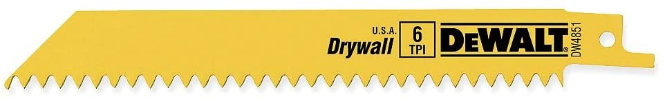 DEWALT DW4851 6-Inch 6 TPI Plaster Cutting Bi-Metal Reciprocating Saw Blade (5-Pack)