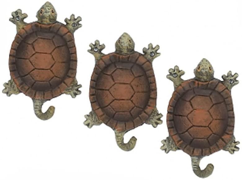 Garden Turtles Wall Hooks Hangers Cast Iron Antique Finish - Set of 3
