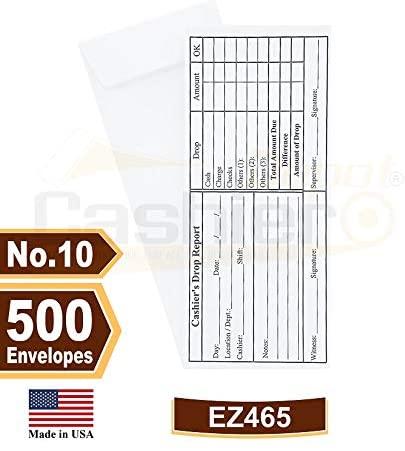 Cashier Depot EZ465 Cashier's Drop Report, No.10 White Envelope, 4 1/8
