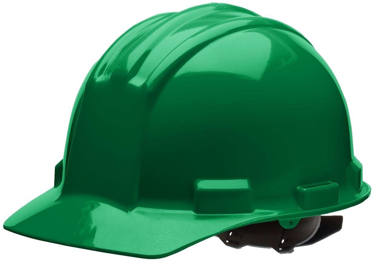 Bullard 51KGP Standard Series Cap Style w/Rain Trough Hard Hat, 4 Point Pin Lock Suspension, Poly Brow Pad, Kelly Green, One Size