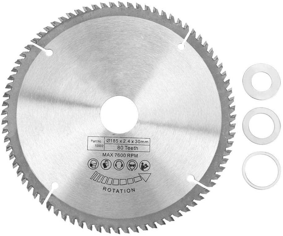 Roadiress Circular Saw Blade, 185mm Silver TCT Circular Saw Blade for Wood Cutting 80 Teeth + 3Pcs Reduction Rings