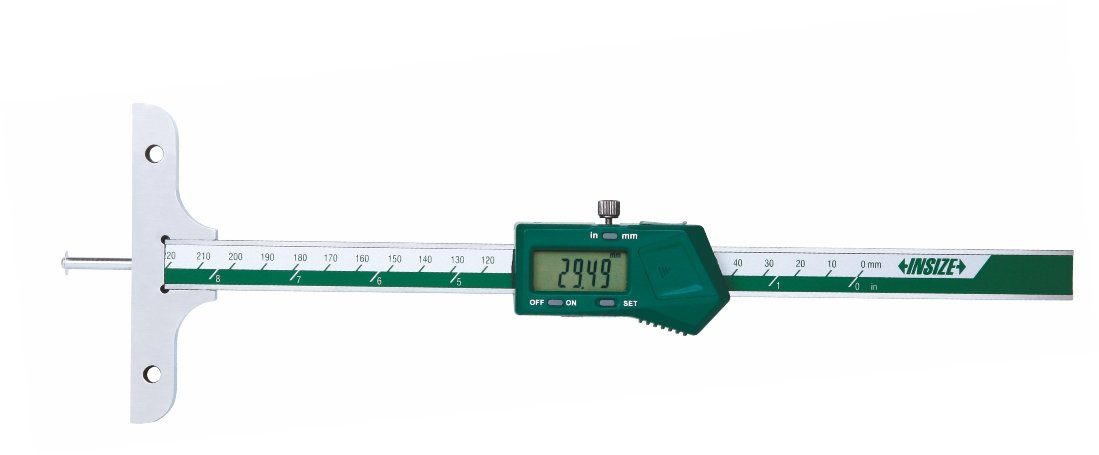 INSIZE 1148-100 Electronic Depth Gage with Round Depth Bar, 0-100mm/0-4