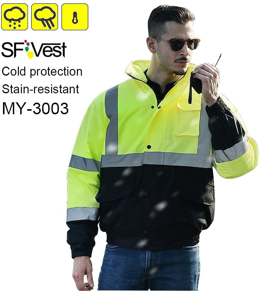 SFVest High Visibility Reflective Winter Bomber Jacket,Waterproof Windproof Black Bottom Detachable Hood Jacket with 3 Front Pockets and Fleece Liner Yellow (L)