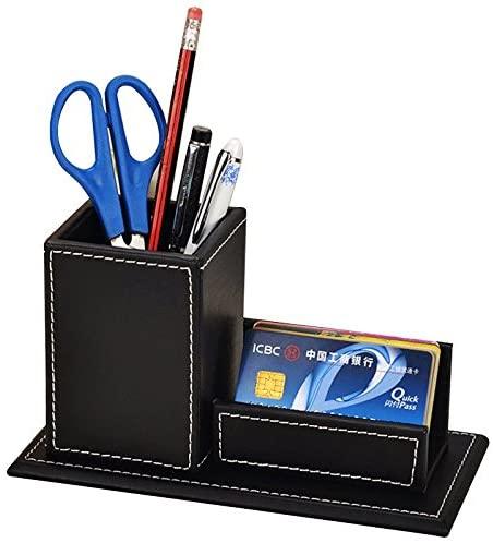 Figella Leather Pen Pencils Holder with Business Card Stand er Desk Organizer Desktop Table Set Storage Box Office Accessories (Black)