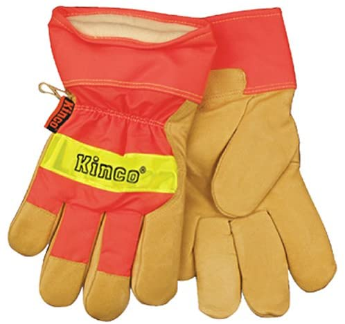 KINCO 1938-XL Men's High Visibility Lined Pigskin Safety Cuff Gloves, Heat Keep Thermal Lining, X-Large, Orange
