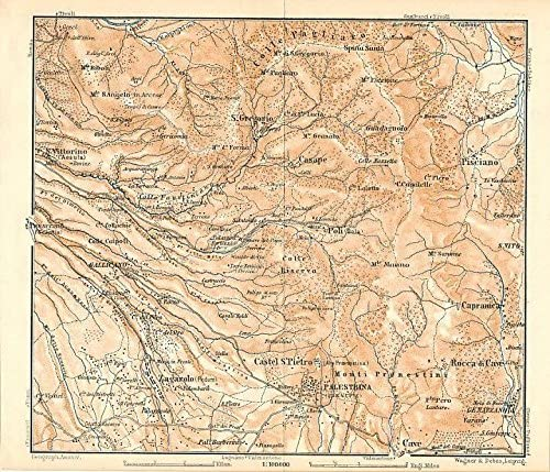 San Vittorino to Palestrina Italy 1884 color lithograph regional map