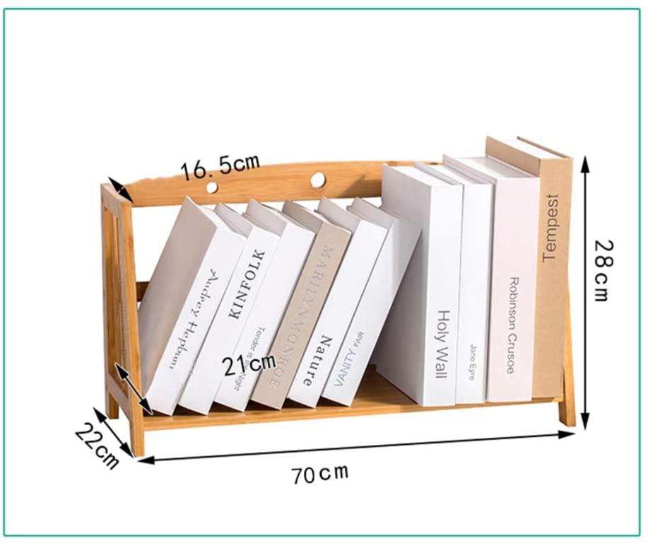 Desk Organiser Bookshelf, Simple Bookshelf, Multipurpose Storage Rack Shelf Desktop Shelves Easy Assembly for Office Bamboo Wood-j 70x22x28cm(28x9x11inch)