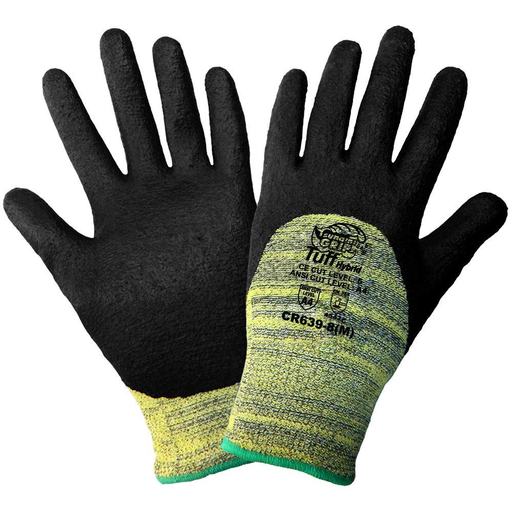 Global Glove CR639 Tsunami Grip Tuff Kevlar Hybrid Glove, Cut Resistant, Small, Yellow/Black (Case of 72)