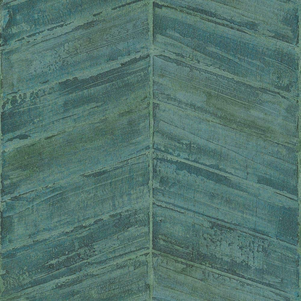 G67770 - Ambiance Textured Geometric Chevrons Turquoise Galerie Wallpaper