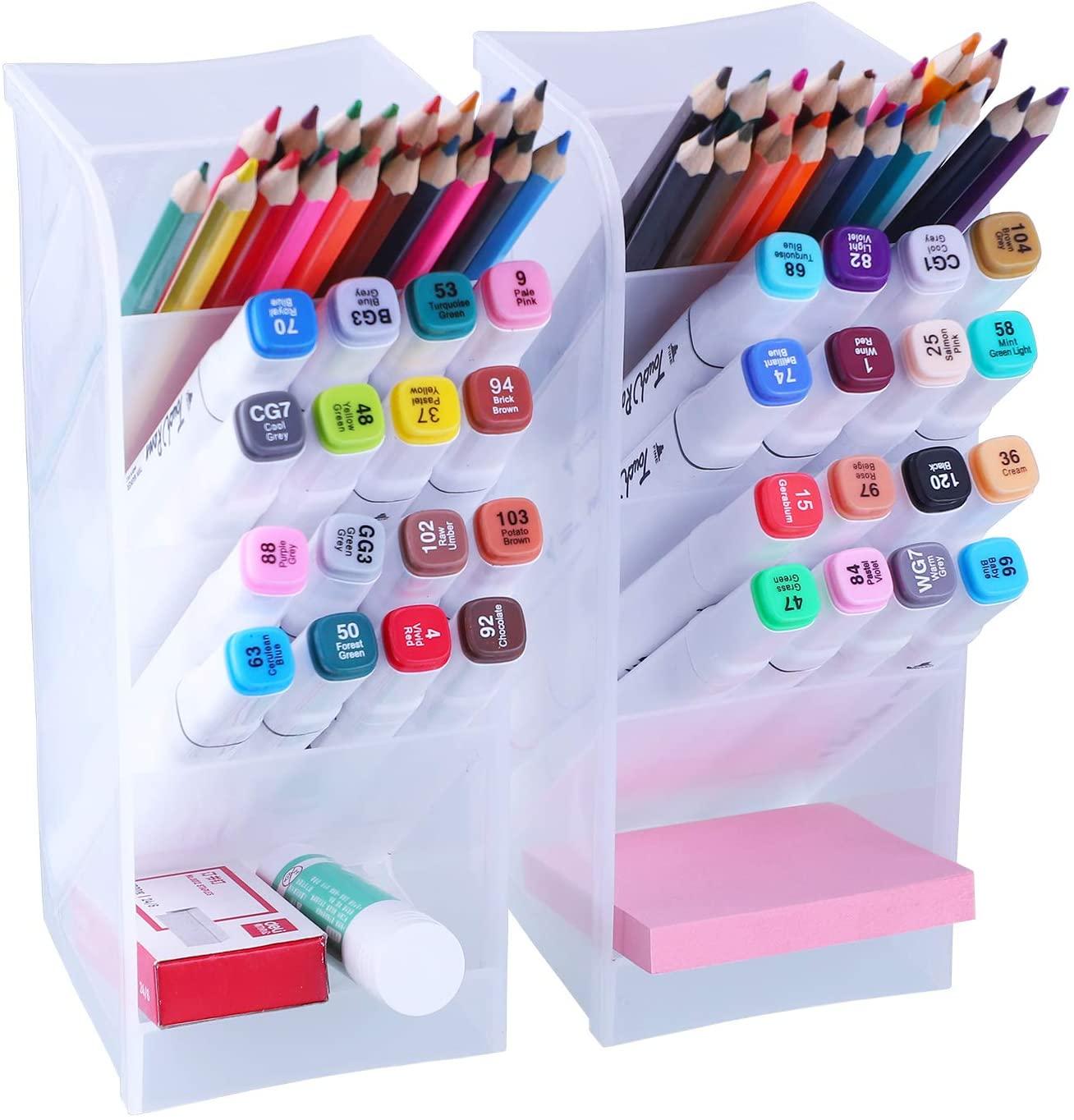 Antner 2pcs Desk Organizer High Capacity Pen Holder Desktop Storage Makeup Brushes Caddy for Office School Home Supplies, Translucent White Big Pen Holder