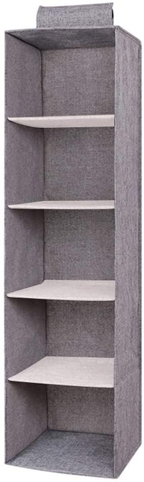 Denpetec Storage Box Cotton Linen Hanging Clothes Organizer Moisture-Proof Closet PP Board Wardrobe Washable Shelf Container Waterproof(5 Layers)