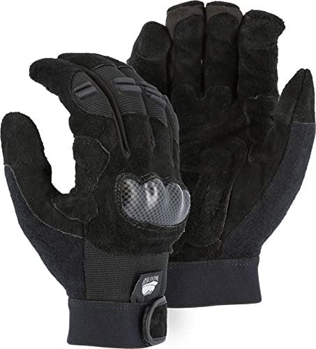 (12 Pair) Majestic REVERSE COW PALM GLOVES WITH THERMOPLASTIC POLYURETHANE KNUCKLE GUARD & FINGER GUARDS - MEDIUM(2123/ 9)