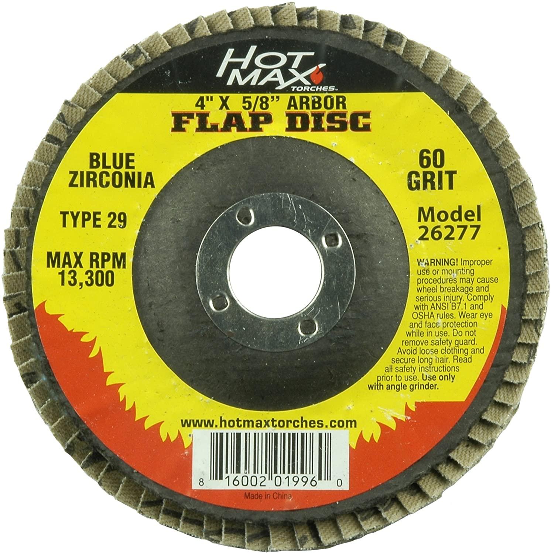 Hot Max 26277 4-Inch x 5/8-Inch Arbor Flap Disc, 60 Grit, Blue Zirconia