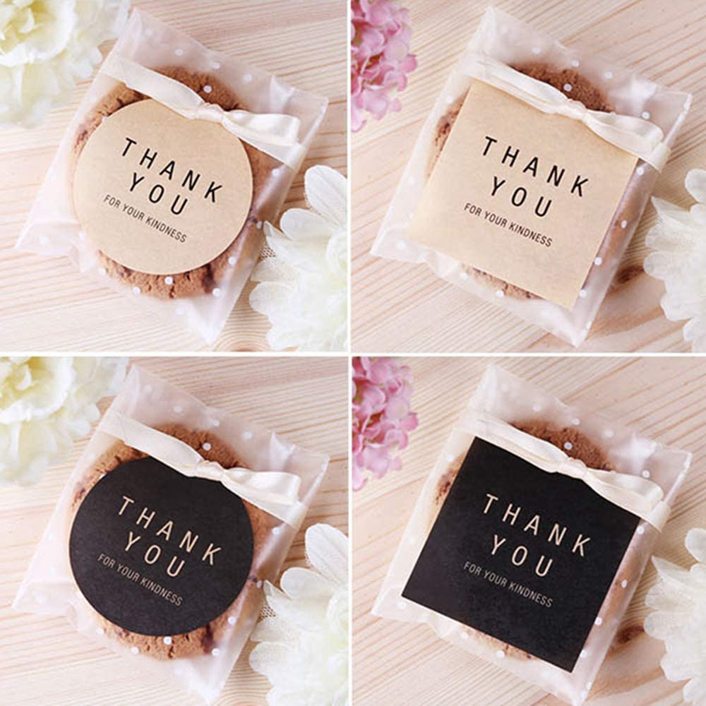 Billion times 600pcs Thank You Stickers Gift Label Gift Sealing Card-Making Adhesive Paper Wedding and Party Favour Letter Seals (100 Sheets, Kraft and Black)
