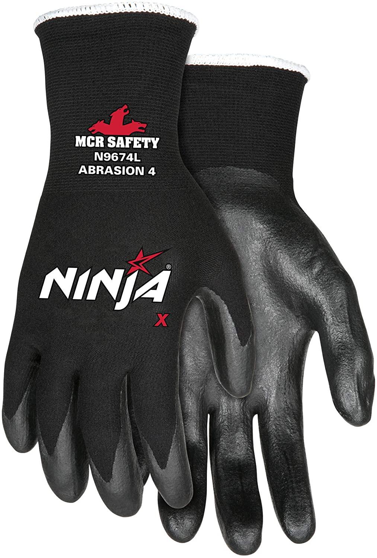 MCR Safety Ninja X N9674M Work Gloves, 15 Gauge Nylon/Lycra Shell, Bi-Polymer Coated Palm & Fingertips, Medium