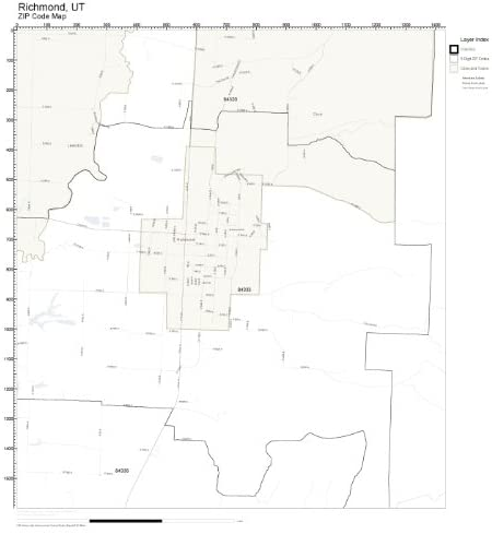 ZIP Code Wall Map of Richmond, UT ZIP Code Map Laminated