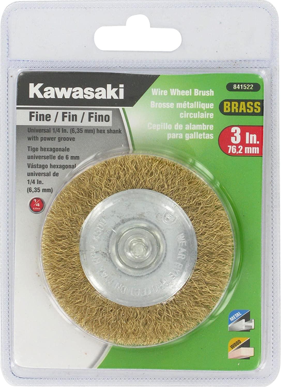 Kawasaki 841522 Fine Wire Wheel Brush with 1/4-Inch Shank, 3-Inch, Brass