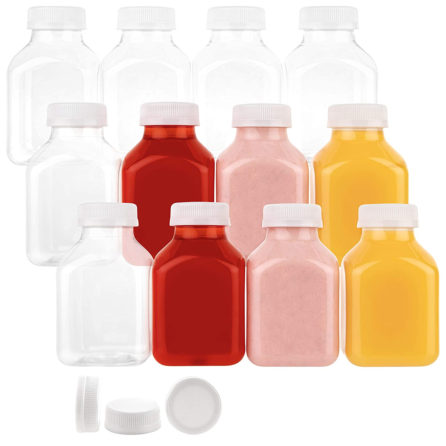 Disposable Plastic Juice Bottles-8 Oz with Lids | 24 Pack | for Water, Orange Apple Lemon Juicing, Smoothies, Milk, Reusable, BPA Free, Tamper-Proof Caps, Catering, Takeout