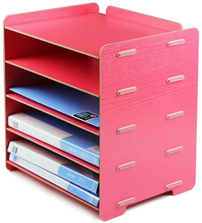 Desktop A4 File Baskets 5 Layers Storage Rack Wooden File Rack File Organizer Office Supplies, 34×25×34cm,Pink