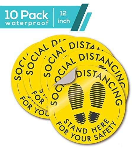 Pack of 10 - Social Distancing Floor Stickers – Coronavirus (Covid-19) Safety Sign - 12 Inch Adhesive Floor Stickers – Easy DIY – Anti-Slip Surface – Ideal for Public Spaces, Restaurants