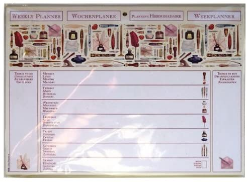 A4 Weekly Planner Undated - Pens & Quills Design - Pad with 60 Sheets - Size 297mm X 210mm