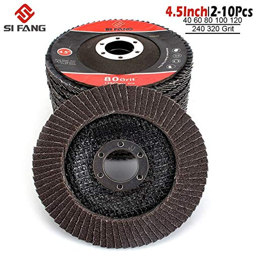 Stock-Home Abrasive Tools, 5-10Pac 115mm Grinding Wheels 4.5 Inch Sanding Discs 40-320 Grit Professional Flap Discs for Angle Grinder - (Grit: 240; Color: 5Pac; Size: 4.5Inch)