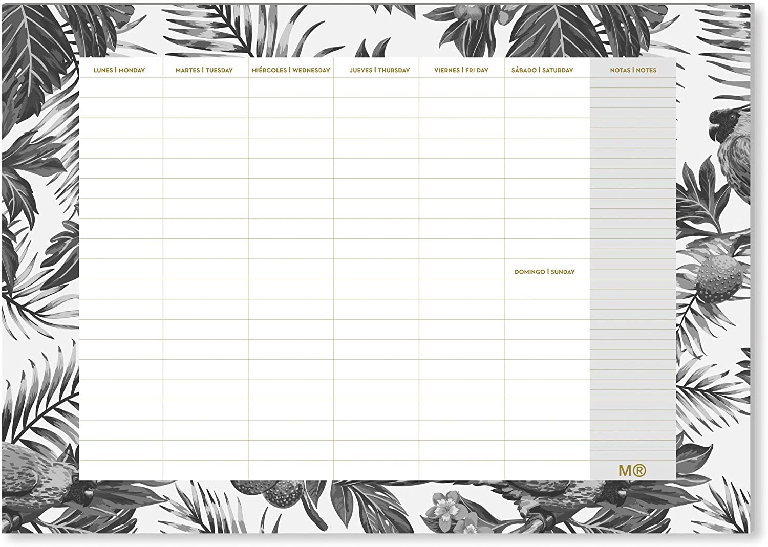 Miquelrius – Weekly Planner Glued A4 Tropical Black & White