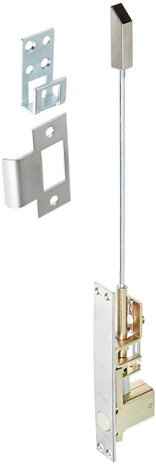 Rockwood 2805.26D Combination Flush Bolt, Self-Latching Top Bolt Only, 1 Width x 6-3/4 Height, Brass Satin Chrome Plated Finish