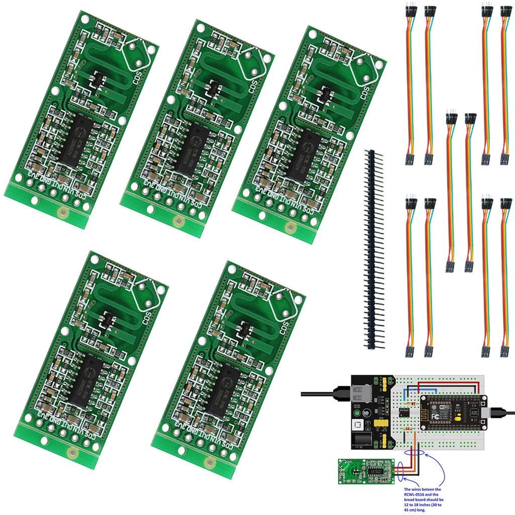 DAOKI 5PCS Microwave Radar Module RCWL-0516 Human Body Induction Switch Intelligent Sensor3 for Arduino + 40PIN + Dupont Cable Female to Female,Male to Female 5 PIN
