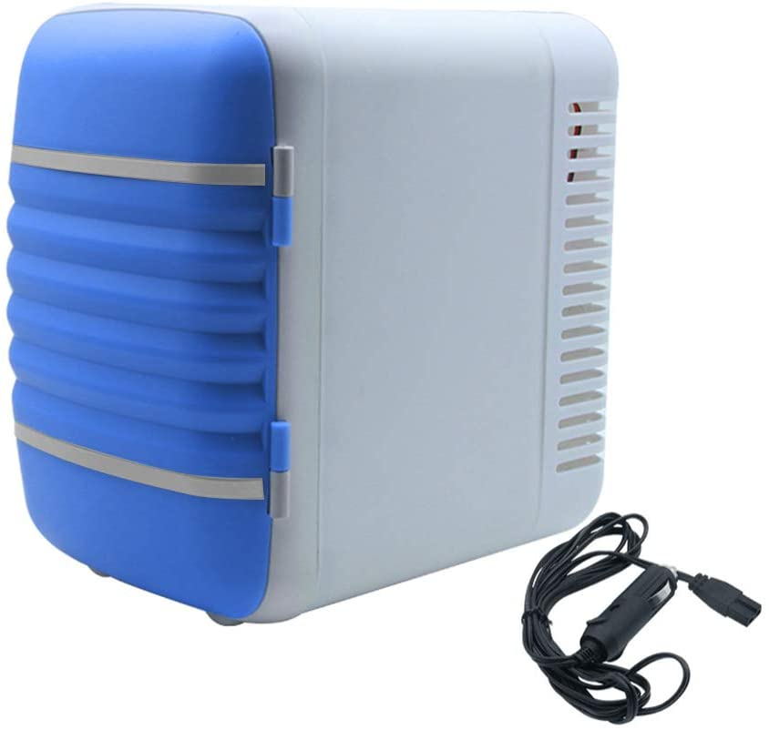 Walmeck 4L Portable Car Refrigerator Mini Fridge Cooler&Warmer for Car Home Office,Blue