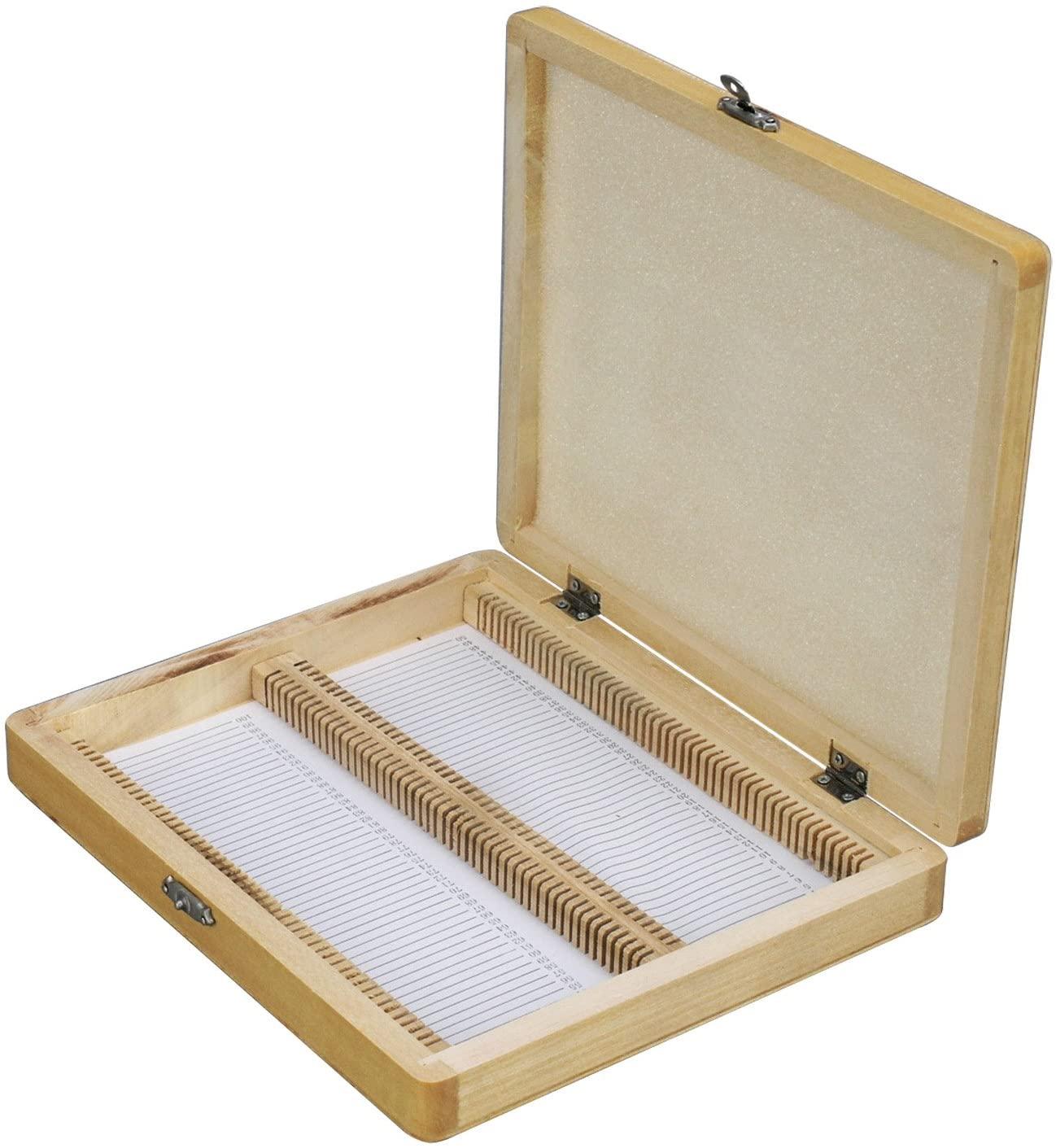 AmScope Microscope Slide Wooden Box Holding 100 Piece Slides