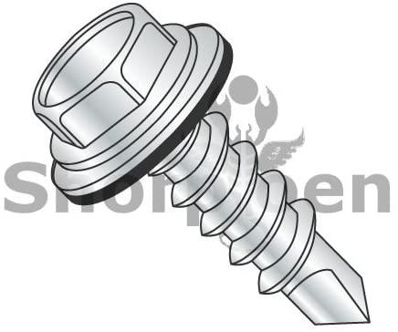 10-16X1 1/2 Unslot Hexwasher w/Bonded NEO EPDM Washer Self Drill Screw Full Thread Zinc Bake - Box Quantity 2000 by Shorpioen BC-1024KWN