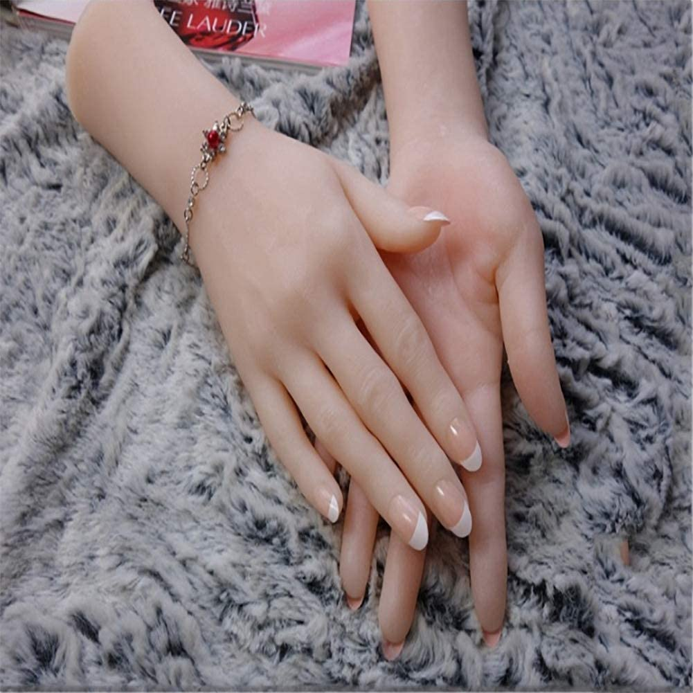 BIXINYAAN Left or Right Hand Silicone Hand Silicone Female Hand Mannequin Dummy Silicone Practice Hand Mannequin