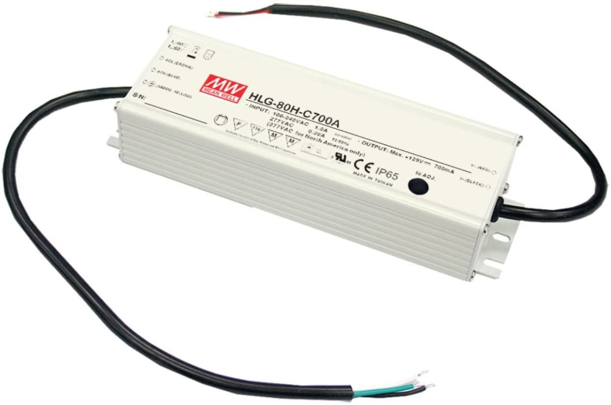 LED Driver 81.6W 24V 3.4A HLG-80H-24A Meanwell AC-DC SMPS HLG-80H Series MEAN WELL C.V+C.C Power Supply