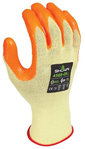 SHOWA 4568 Cut and Abrasion Resistant Kevlar Work Glove with Zorb-IT Foam Nitrile Palm, Yellow, Small, 12 Pair
