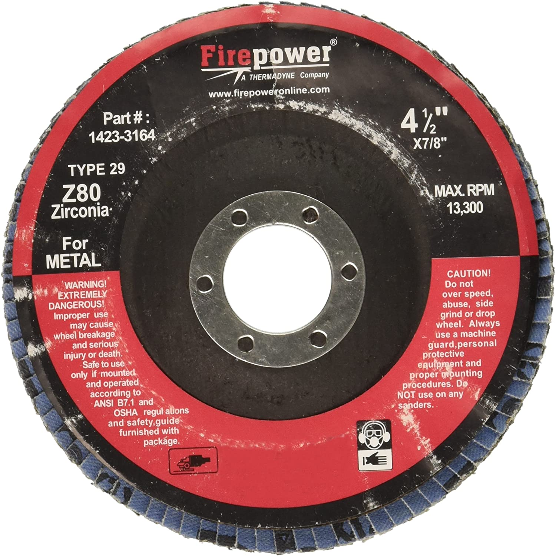 Firepower 1423-3164 Type 29 Zirconia Flap Disc without Hub, 80 Grit, 4-1/2-Inch Diameter, 7/8-Inch Width