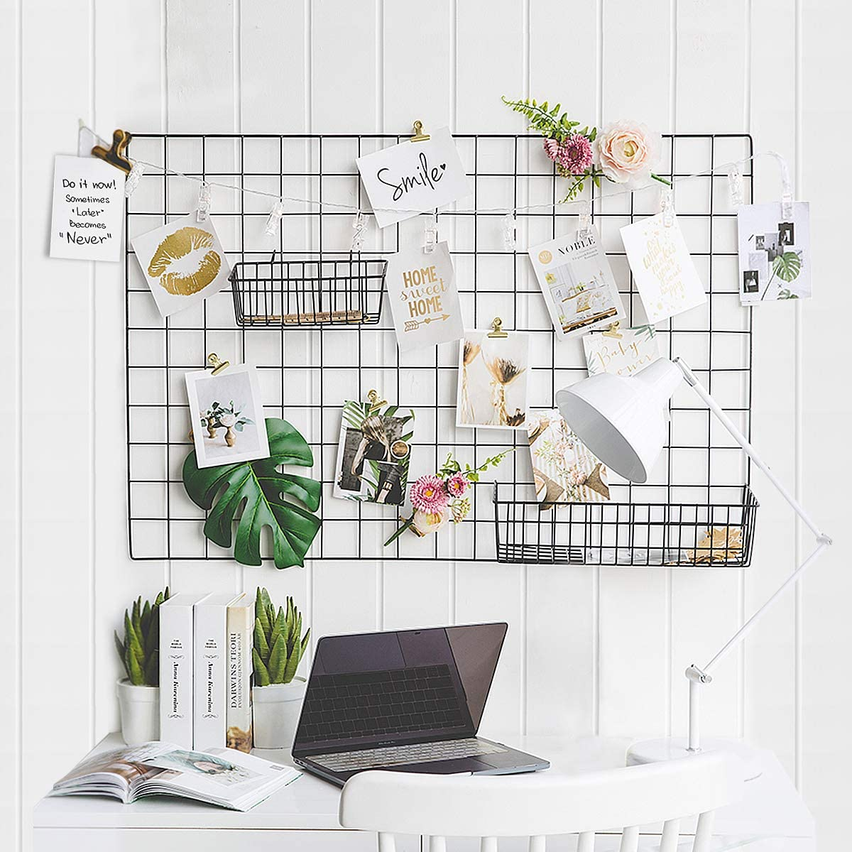 GBYAN Wall Grid 2 Pack Wire Photo Grid Panels Metal Picture Rack Wall Organizer with Decoration Light and Clips for Memo, Photo Display, 25.6x17.7 Each Grid Panel