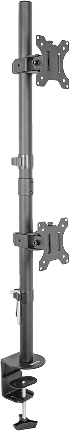 VIVO Dual LCD Monitor Desk Mount Stand Heavy Duty Stacked, Holds Vertical 2 Screens up to 32
