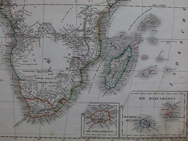 Africa Capeland Canary Mascarene Islands St. Helena Kong Mts. 1856 old Stein map