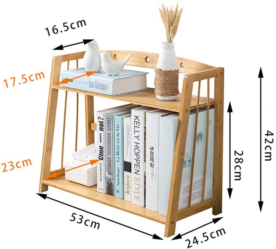 Desktop Bookshelf, Desk Organiser Bookshelf, Wooden Storage Shelf Books Display Rack Simple Design Easy Assembly for Office-l 53x24x42cm(21x9x17inch)
