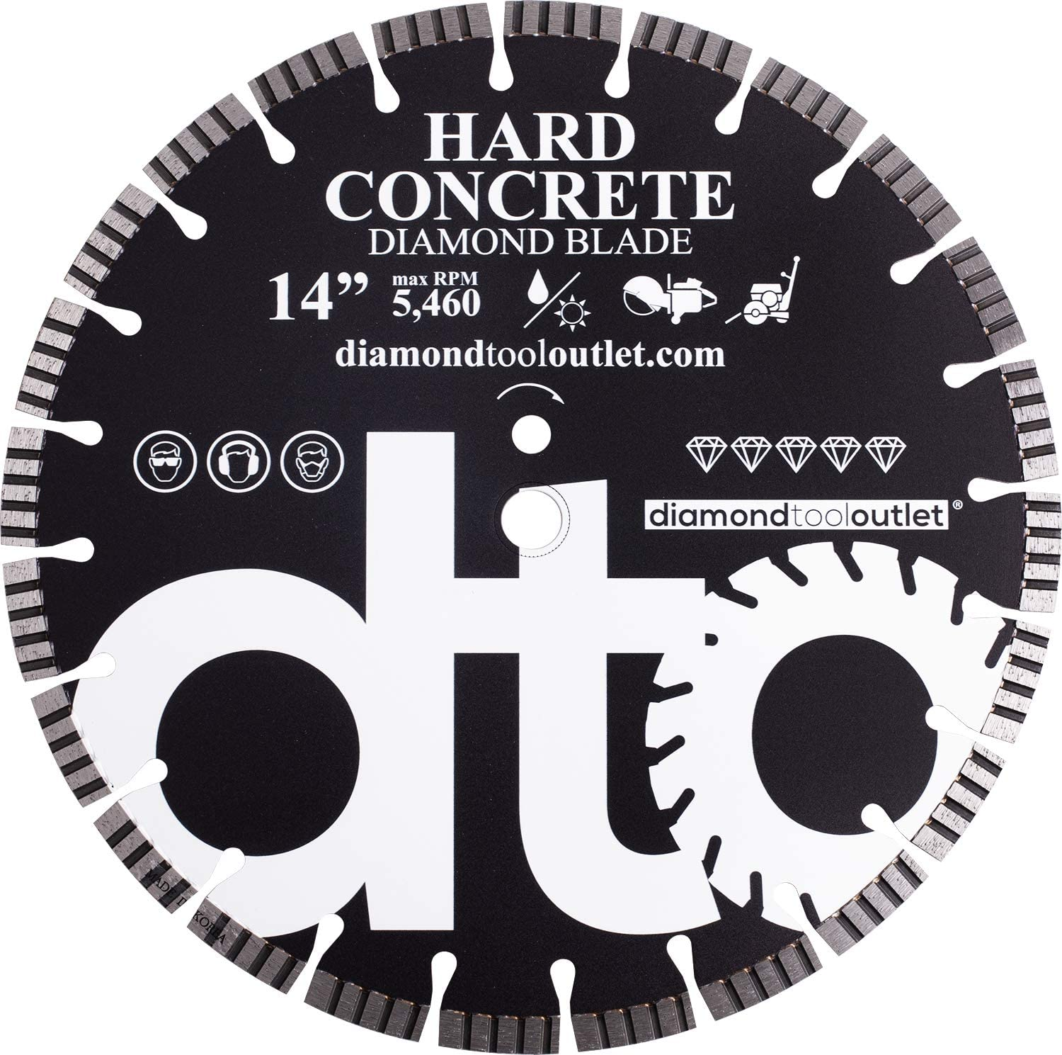 dto SHC14S 14-Inch Supreme Diamond Turbo Segmented Saw Blade for Hard Concrete, Reinforced Concrete, Hard Paver Brick, 1-Inch Arbor, Wet or Dry Cutting, 5460 Max. RPM, 12mm (.472