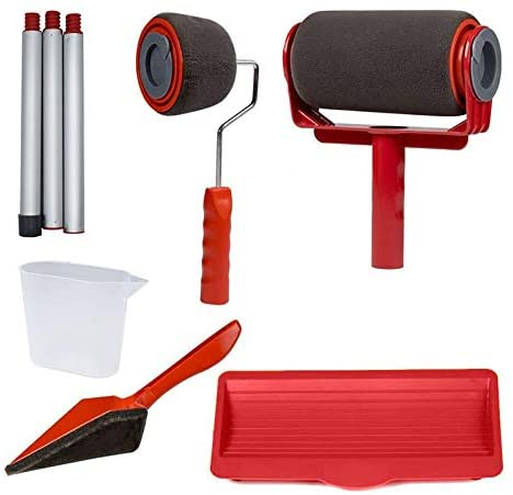 Hengwei Paint Roller Kit 9Pcs Upgrades Seamless Brush Kit Multifunctional Paint Runner Tool Set Decorating Tools House Office Wall Printing Painting Supplies(Red)