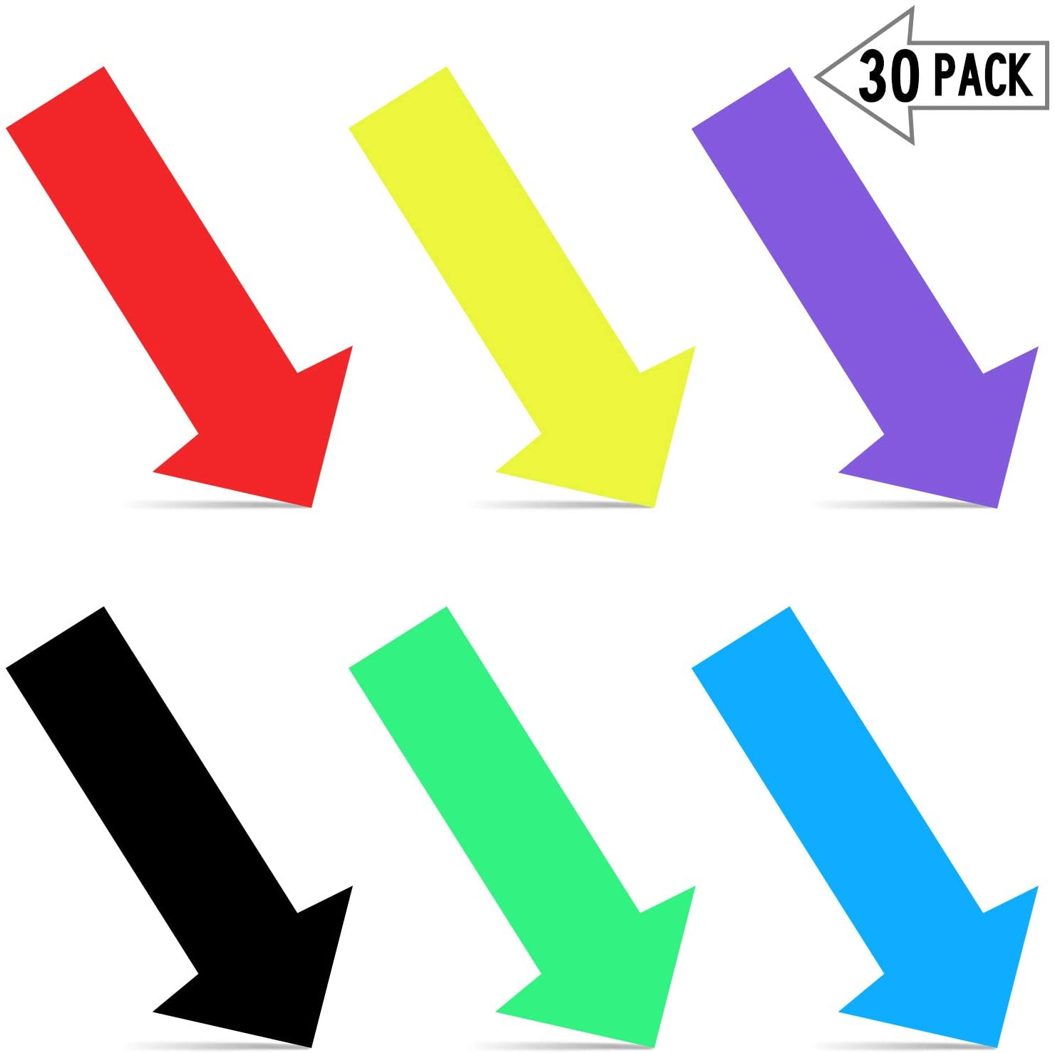 30 Pieces Arrow Stickers Removable Arrow Decal, Adhesive Directional Arrow Sign Colour Temporary Floor and Wall Glossy Directional Stickers for Warehouse, School, Traffic Flow, 12 x 6 Inch