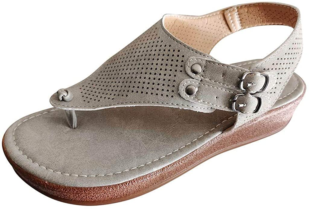 RQWEIN Summer Special Platform Wedge Sandals for Women Flip Flops Platform Slide Heeled Sandals Ankle Strap Open Toe Sandals