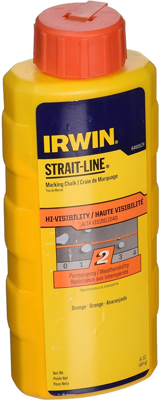 IRWIN Tools STRAIT-LINE High-Visibility Marking Chalk, 8-ounce, Orange (64905ZR)