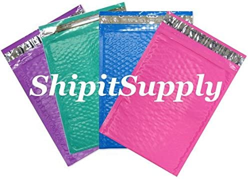 50 #000 4X8 Poly ( Blue Pink Purple & Teal ) Mix Color Bubble Mailers